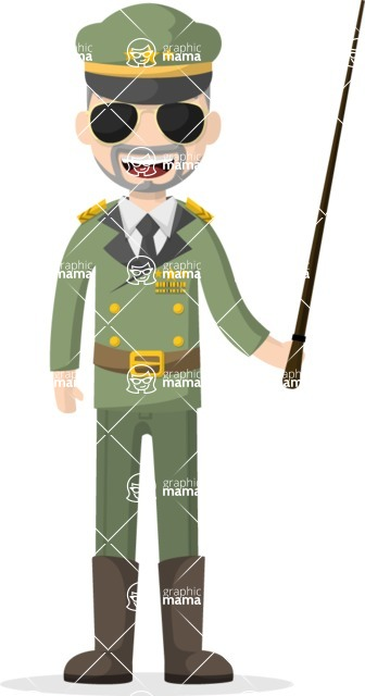 Man in Uniform Vector Cartoon Graphics Maker - Commander with a pointer