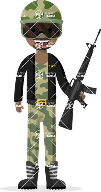 Man in Uniform Vector Cartoon Graphics Maker - Soldier in camouflage clothes