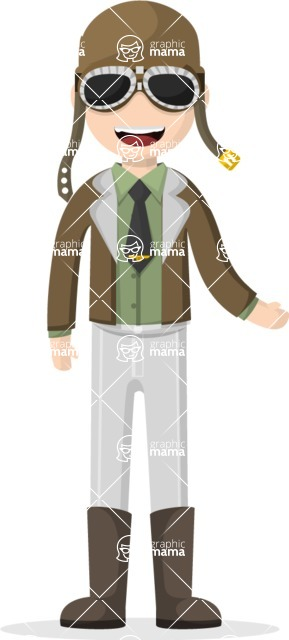 Man in Uniform Vector Cartoon Graphics Maker - Aviator with hat and glasses