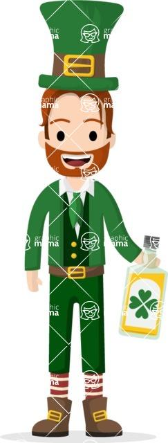 Man in Uniform Vector Cartoon Graphics Maker - Happy vector leprechaun