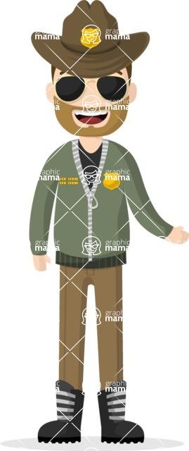 Man in Uniform Vector Cartoon Graphics Maker - Sheriff with beard