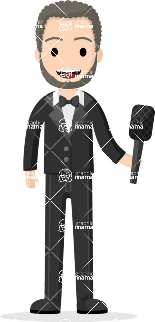 Man in Uniform Vector Cartoon Graphics Maker - Showman with microphone