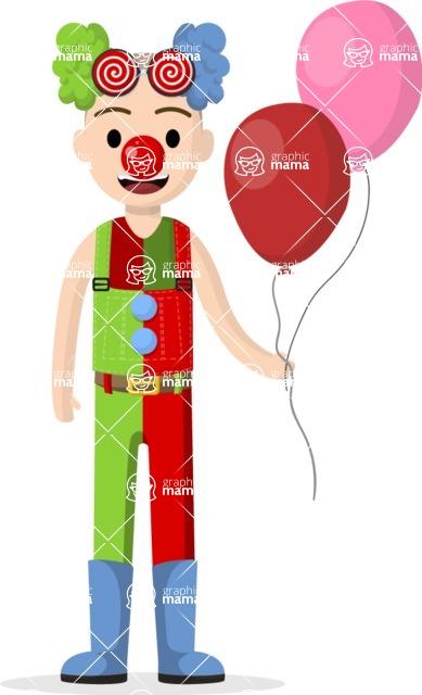 Man in Uniform Vector Cartoon Graphics Maker - Vector clown with balloons