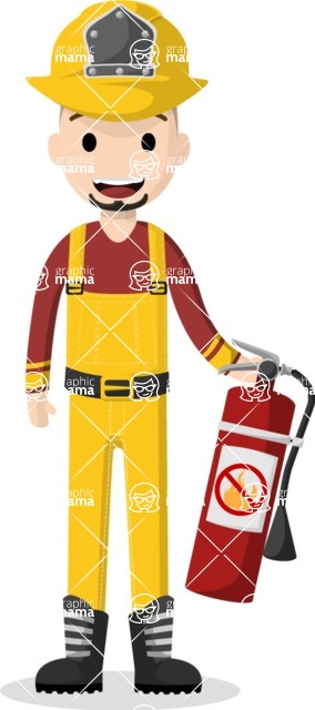 Man in Uniform Vector Cartoon Graphics Maker - Latino fire-fighter with a fire extinguisher