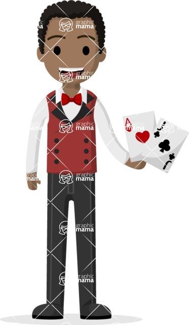 Man in Uniform Vector Cartoon Graphics Maker - Afro-american croupier