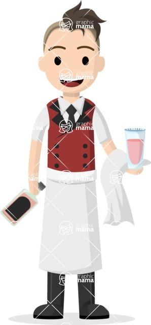 Man in Uniform Vector Cartoon Graphics Maker - Young vector bartender
