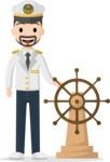 Man in Uniform Vector Cartoon Graphics Maker - Vector sea captain with steering wheel