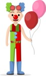 Man in Uniform Vector Cartoon Graphics Maker - Vector clown with balloons