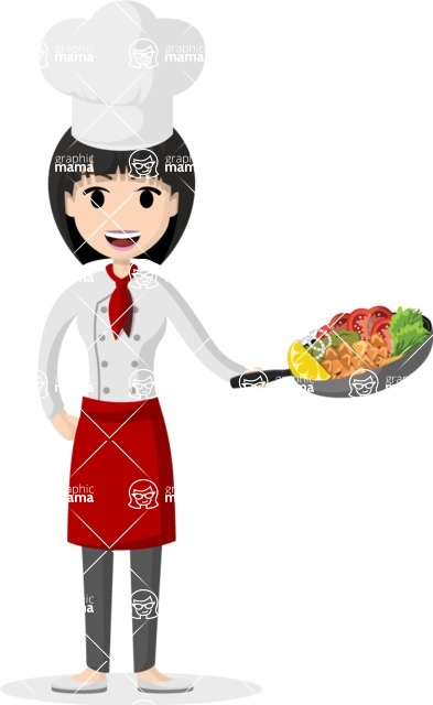 Woman in Uniform Vector Cartoon Graphics Maker - Asian female cook with pan