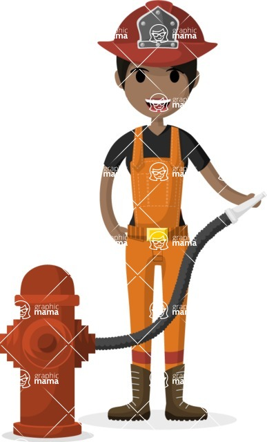 Woman in Uniform Vector Cartoon Graphics Maker - Firefighter girl with hose