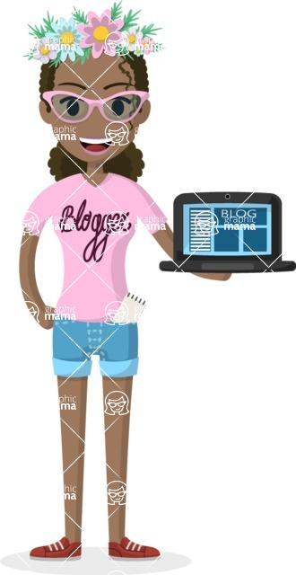 Woman in Uniform Vector Cartoon Graphics Maker - Fresh blogger girl