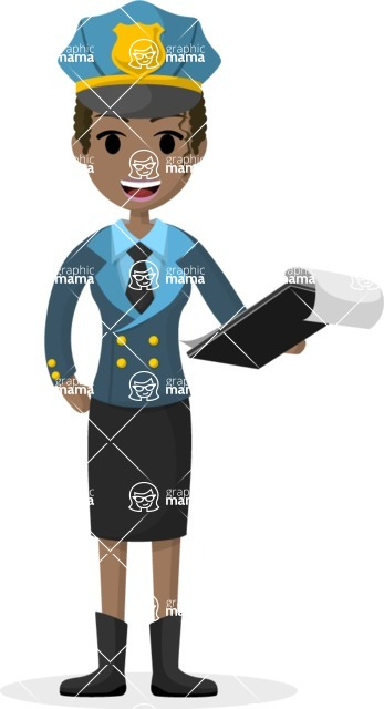 Woman in Uniform Vector Cartoon Graphics Maker - Smiling policewoman with clipboard