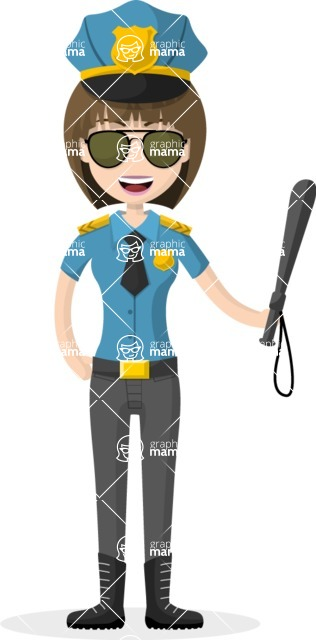 Woman in Uniform Vector Cartoon Graphics Maker - Female police officer with baton