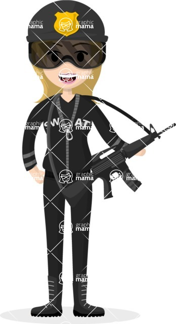 Woman in Uniform Vector Cartoon Graphics Maker - Policewoman with gun
