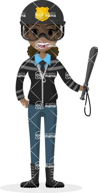 Woman in Uniform Vector Cartoon Graphics Maker - Policewoman with baton and helmet