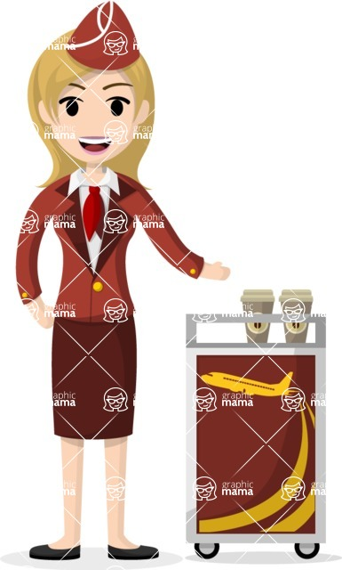 My Career: Vector Girls - Blonde stewardess serving refreshments