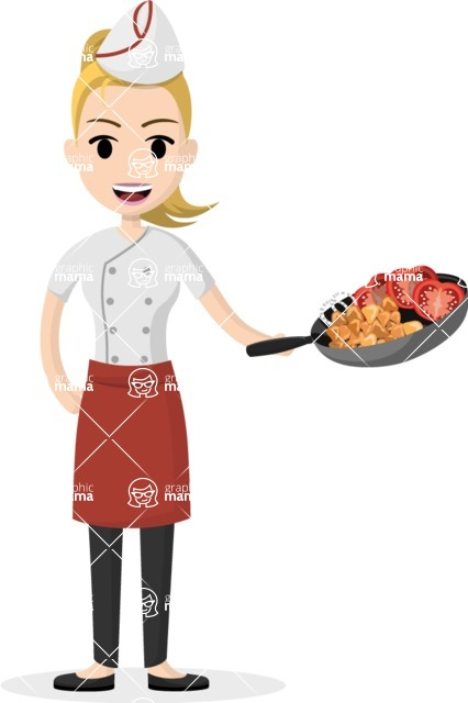 Woman in Uniform Vector Cartoon Graphics Maker - Female cook with pan