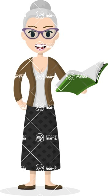 My Career: Vector Girls - Old female teacher with book