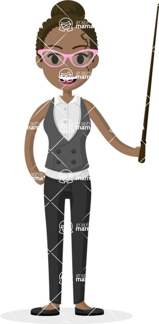 Woman in Uniform Vector Cartoon Graphics Maker - African American teacher with pointer