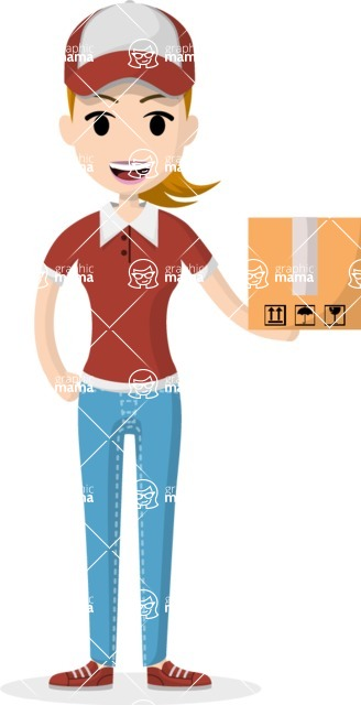 My Career: Vector Girls - Courier girl with small package