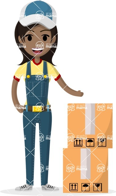 Woman in Uniform Vector Cartoon Graphics Maker - Courier girl with big boxes