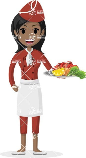 My Career: Vector Girls - Indian waitress serving spicy food