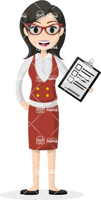 Woman in Uniform Vector Cartoon Graphics Maker - Asian female with checklist