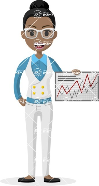 Woman in Uniform Vector Cartoon Graphics Maker - Business woman with graph