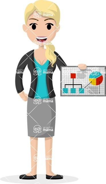 Woman in Uniform Vector Cartoon Graphics Maker - Business lady with chart