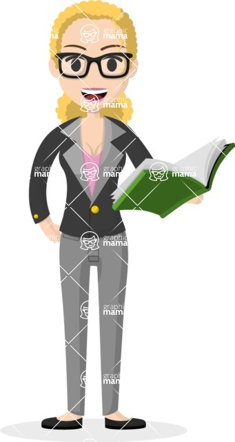 Woman in Uniform Vector Cartoon Graphics Maker - Blonde female teacher with book