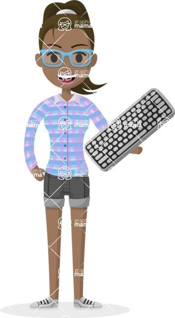 Woman in Uniform Vector Cartoon Graphics Maker - Indian IT girl