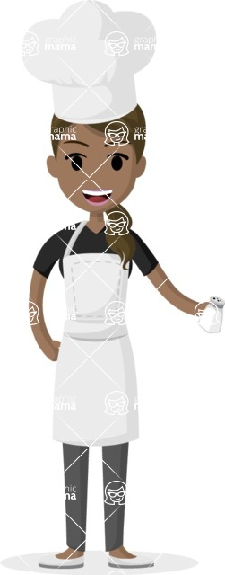 Woman in Uniform Vector Cartoon Graphics Maker - Indian female cook