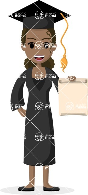 Woman in Uniform Vector Cartoon Graphics Maker - African American graduate girl with gown