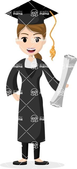 Woman in Uniform Vector Cartoon Graphics Maker - Female university graduate