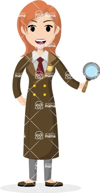 Woman in Uniform Vector Cartoon Graphics Maker - Detective woman with spyglass