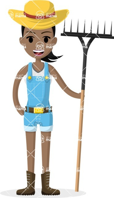 Woman in Uniform Vector Cartoon Graphics Maker - Vector farmer girl with rake