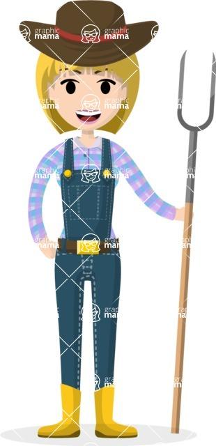 Woman in Uniform Vector Cartoon Graphics Maker - Farmer girl with tool
