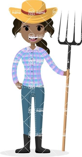 Woman in Uniform Vector Cartoon Graphics Maker - Farmer girl with spading fork