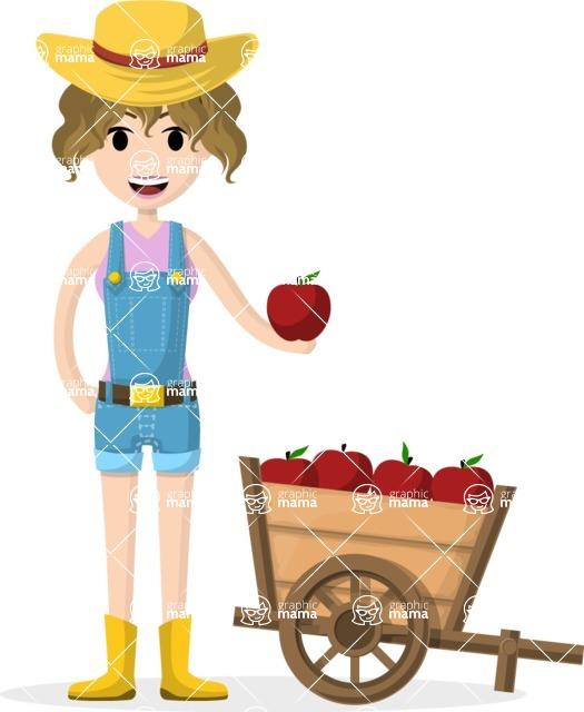 Woman in Uniform Vector Cartoon Graphics Maker - Farmer girl with fruits