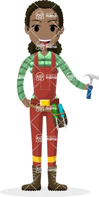 Woman in Uniform Vector Cartoon Graphics Maker - African American female technician
