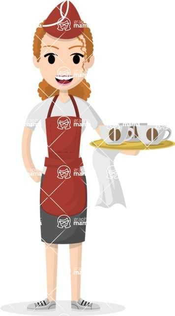 Woman in Uniform Vector Cartoon Graphics Maker - Woman serving coffee