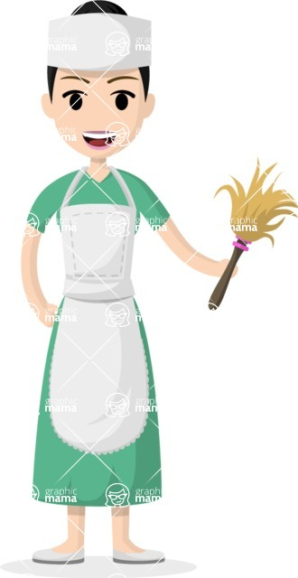 Woman in Uniform Vector Cartoon Graphics Maker - Asian maid with dust brush