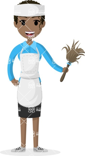 Woman in Uniform Vector Cartoon Graphics Maker - African American maid with dust brush