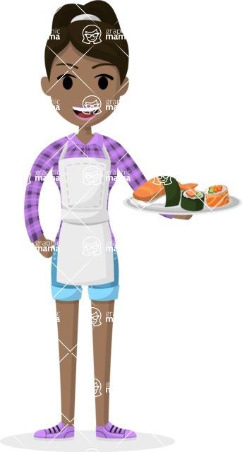 Woman in Uniform Vector Cartoon Graphics Maker - Cafe girl serving a dish