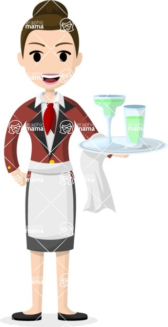 Woman in Uniform Vector Cartoon Graphics Maker - Restaurant waitress with cocktails