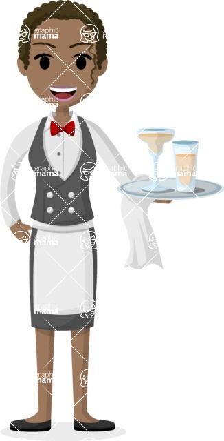 Woman in Uniform Vector Cartoon Graphics Maker - African American waitress with cocktails