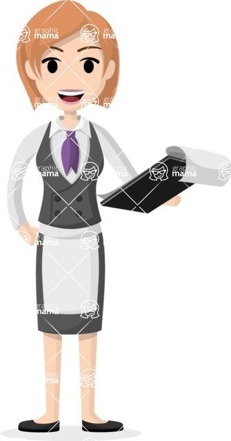 Woman in Uniform Vector Cartoon Graphics Maker - Waitress holding a menu