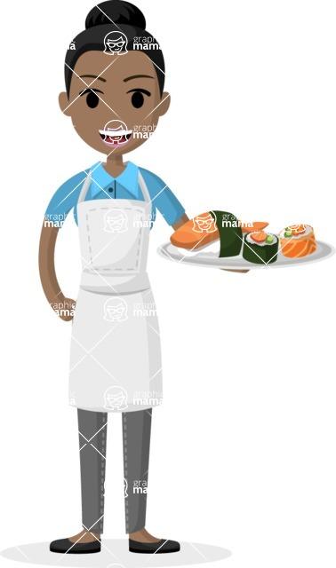 Woman in Uniform Vector Cartoon Graphics Maker - Waitress serving delicacy