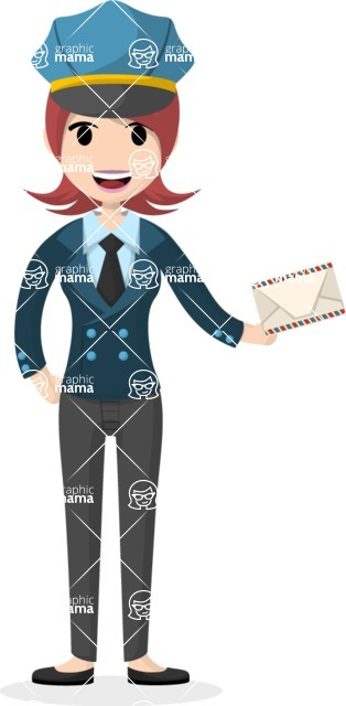 Woman in Uniform Vector Cartoon Graphics Maker - Postwoman with envelope