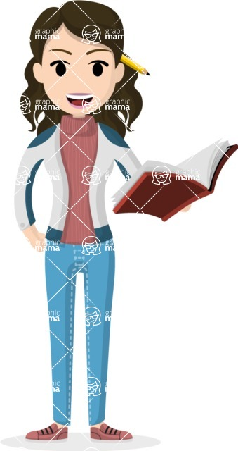 Woman in Uniform Vector Cartoon Graphics Maker - Female teacher with book and pencil